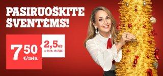 """""""Tele2"""" Kalėdos: 2,5 GB duomenų tik už 7,5 Eur/mėn., o išmanieji – iki 54 proc. pigiau"""