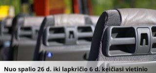 NUO SPALIO 26 D. IKI LAPKRIČIO 6 D. KEIČIASI VIETINIO SUSISIEKIMO MARŠRUTŲ TVARKARAŠČIAI