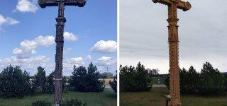 Atnaujintas Baltijos kelio jurbarkiečių vietos ženklas – kryžius