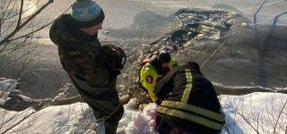 Jurbarko ugniagesiai gelbėtojai iš ledo spąstų išvadavo šunelį