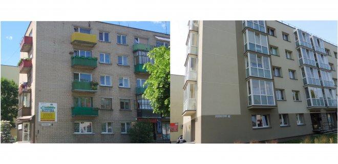 Nuotraukose Vytauto Didžiojo g. namas Nr. 7 prieš renovaciją ir po renovacijos