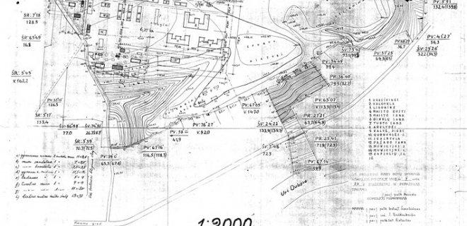 Seredžiaus kareivinių statybai rajono niveliacijos planas, 1935 m. / Nijolės Steponaitytėss nuotr.