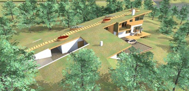 """Namas- chameleonas. Svajonių namas gali atrodyti ir taip. Štai toks neįprastas pastatas jau kyla Jurbarko rajone. Užsakovas - jurbarkietis. Projektą sukūrė MB """"Archsprendimai""""."""