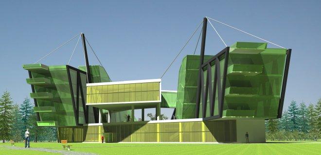 Štai taip atrodo A. Ganusausko suprojektuotas modernus Jurbarko viešbutis, kurį jis suprojektavo kaip bakalaurinį darbą. Šį viešbutį architektas buvo numatęs statyti Jurbarke Mituvos ir Imsrės santakoje.