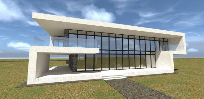 Paaiškėjo, kad jurbarkiečių architektų užsakovai - jurbarkiečiai, gyvenantys ir dirbantys didmiesčiuose. Štai šis baltas namas iškils Kaune, ir jame įsikurs jurbarkietė. (Ganusauskų projekto vizualizacija).