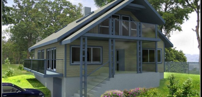 I. Januškienės projektuotas šlaitinis gyvenamasis namas.
