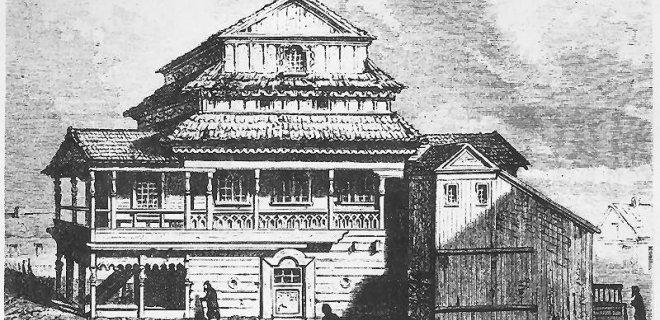 M.Jurbarko medinė sinagoga.E. Andrioli eskizas. / Europeana nuotr.