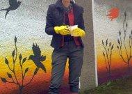Nuotraukoje - idėjos autorė mokytoja J.Davidavičienė, Jurbarko gimnazijos dailės studijos vadovė.