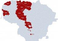 Žemėlapyje matyti, kurie rajonai nusiteikę priimti pabėgėlius.