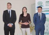 Sėkmingus darbus Vilniuje turintys jurbarkiečiai (iš kairės) Lukas Tabulevičius, Lina Grinevičiūtė ir Matas Mačiulaitis dalijosi mintimis ir idėjomis, kaip Jurbarko krašte galima susikurti sėkmingą gyvenimą.