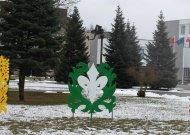 Apie artėjančią šventę primena tik Jurbarko kultūros centro trispalvės verpstės