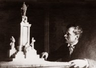 Vincas Grybas šalia projekto  Motiejui Valančiui, 1934-1935 m.