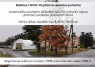 Mobilus COVID-19 patikros punktas Jurbarke pradeda darbą