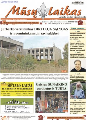 Mūsų Laikas - Jurbarko rajono laikraštis, Nr. 41 (1349)
